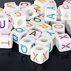 Бусины Стиль Пандора из Смолы, Кубики с буквами, Цвет: Микс, Размер: 7х7х7мм, Отверстие 4мм, около 80шт/25г, (УТ0002266)