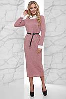 Теплое Ангоровое Платье Меланж с Белым Воротником и Манжетами Розовое S-XL, фото 1