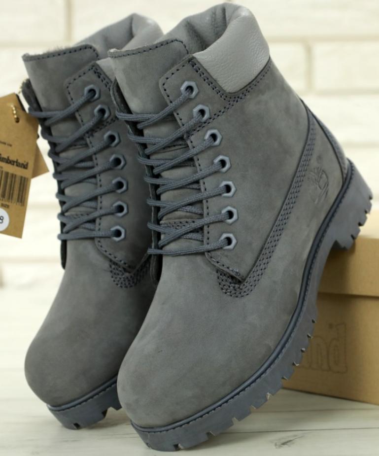 Женские зимние ботинки Timberland 6 inch Grey с натуральным мехом