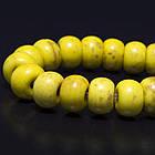 Бусины Синтетическая Бирюза, Окрашенные, На нитях, Рондель, Цвет: Желтый, Размер: Диаметр: 8мм, Толщина 5мм, Отверстие 1мм, около 80шт/нить,