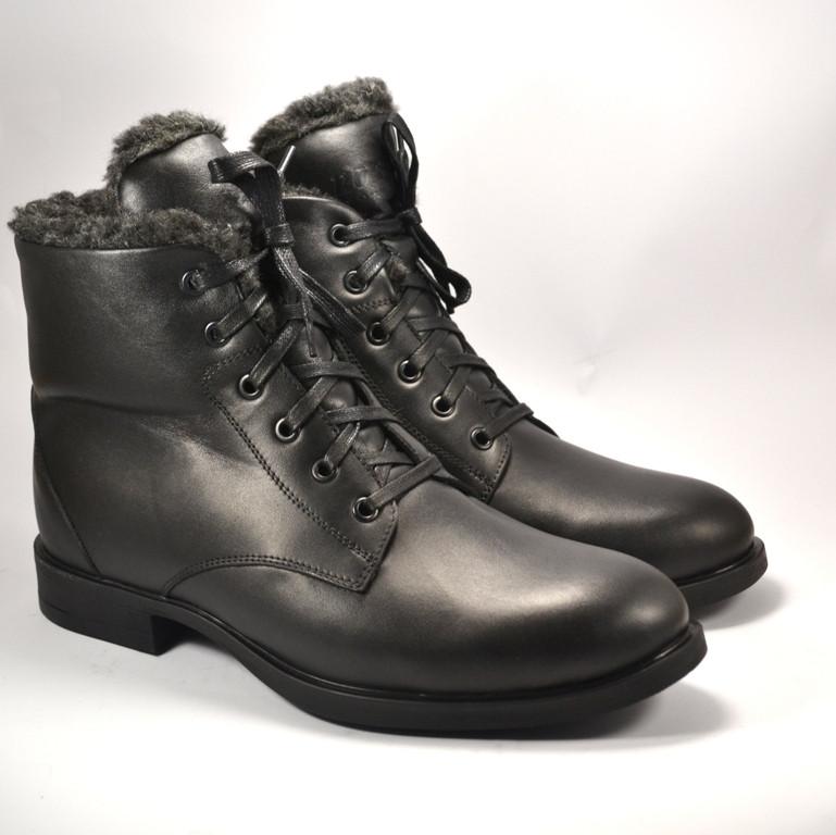 Классические утепленные зимние мужские ботинки на меху Rosso Avangard Carlo Berz черные