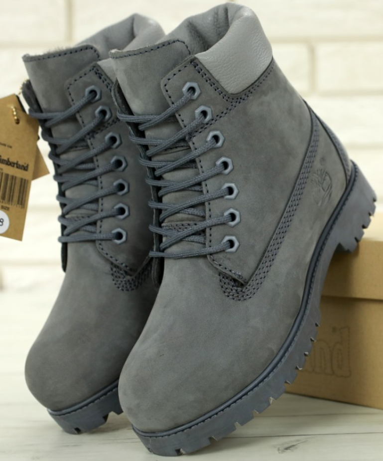 Мужские зимние ботинки Timberland 6 inch Grey с натуральным мехом
