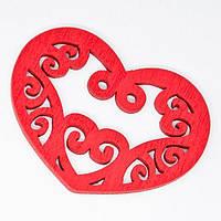 Подвески Деревянные Окрашенные, Сердце, Цвет: Красный, Размер: 52х42х2мм, Отв-тие 2мм, (УТ000003772)
