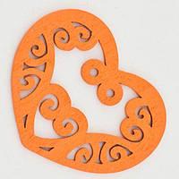 Подвески Деревянные Окрашенные, Сердце, Цвет: Оранжевый, Размер: 52х42х2мм, Отв-тие 2мм, (УТ000003782)
