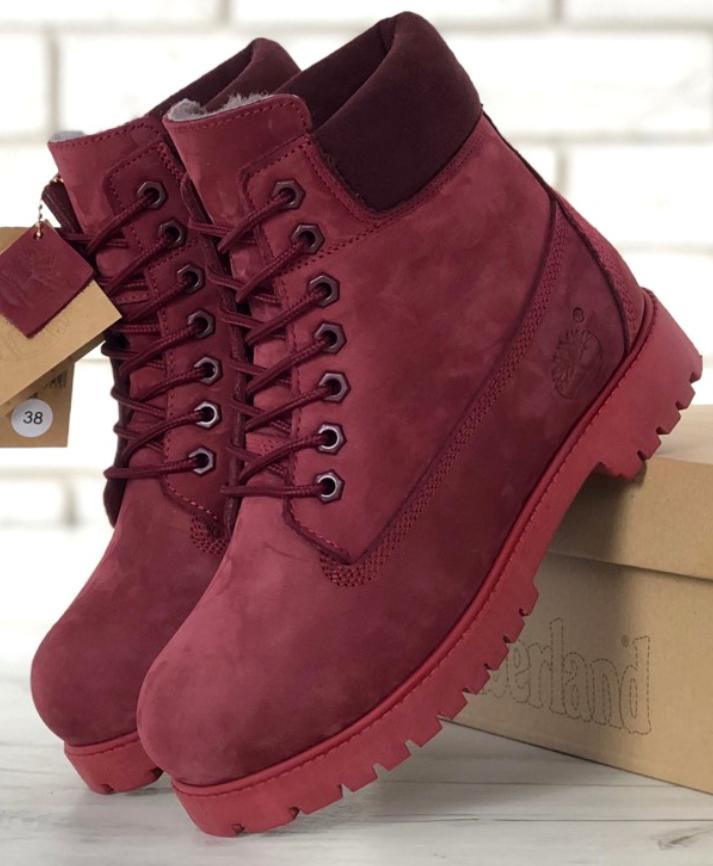 Женские Зимние Ботинки Timberland Red, ботинки тимберленд