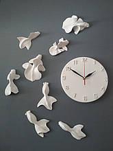 Настенные креативные часы с рыбками Белые