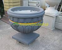 Вазон бетонный, уличный цветник ваза из бетона, круглое кашпо, клумба садово парковая цветочница, горшок.