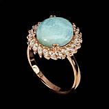 Шикарное кольцо с изумительным 100% натуральным Ларимаром. Размер 18. Серебро в позолоте., фото 2