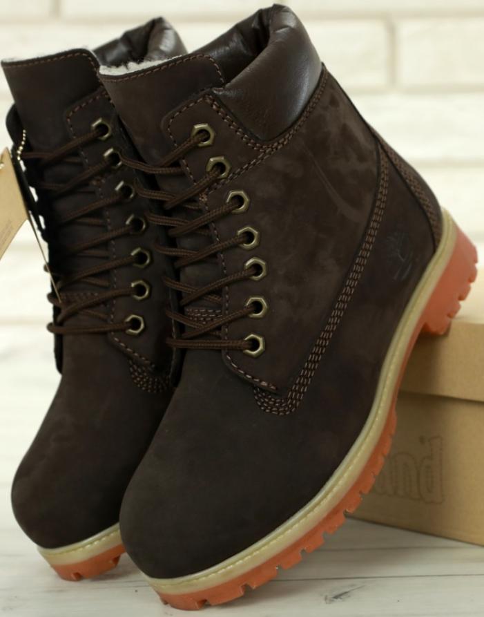 Женские Зимние Ботинки Timberland BROWN с мехом, ботинки тимберленд Коричневые