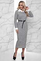 Теплое Ангоровое Платье Меланж с Белым Воротником и Манжетами Серое S-XL, фото 1