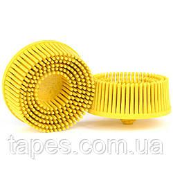 Зачистной круг Bristle с креплением Roloc, желтый, градация - средний, диск-щётка 80, 3М