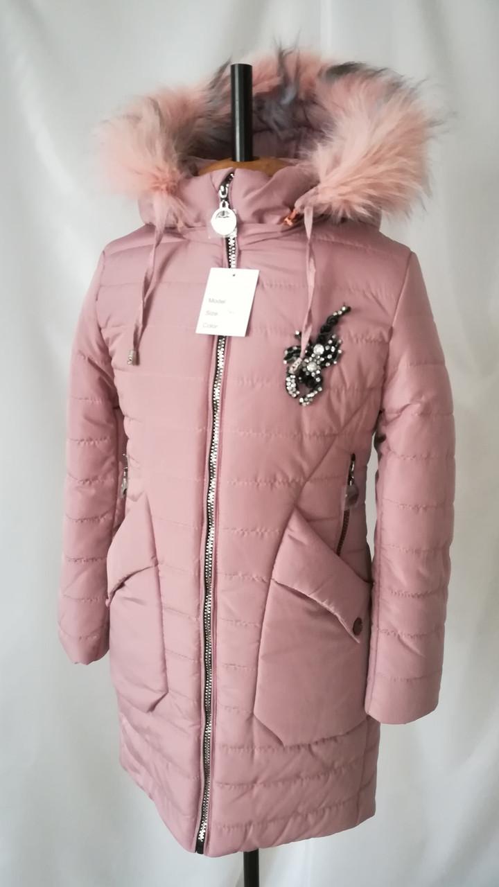 Зимняя куртка для девочки подростка интернет магазин 32-40 пудра