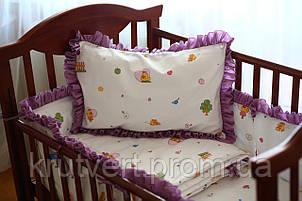 Большой комплект постельного белья для детской кроватки Ципленок и рюш