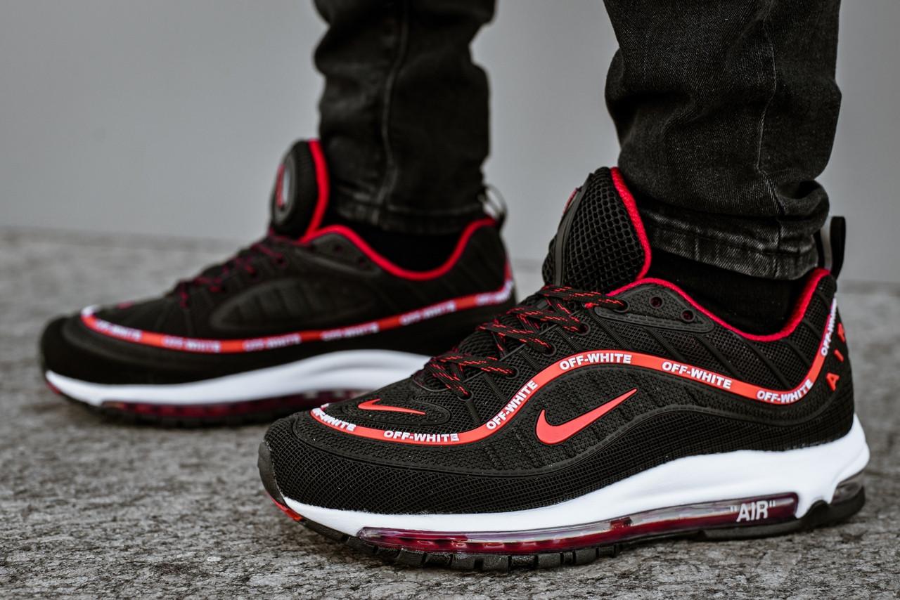 Мужские демисезонные кроссовки Nike черные с красным топ реплика