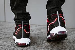 Мужские демисезонные кроссовки Nike черные с красным топ реплика, фото 3