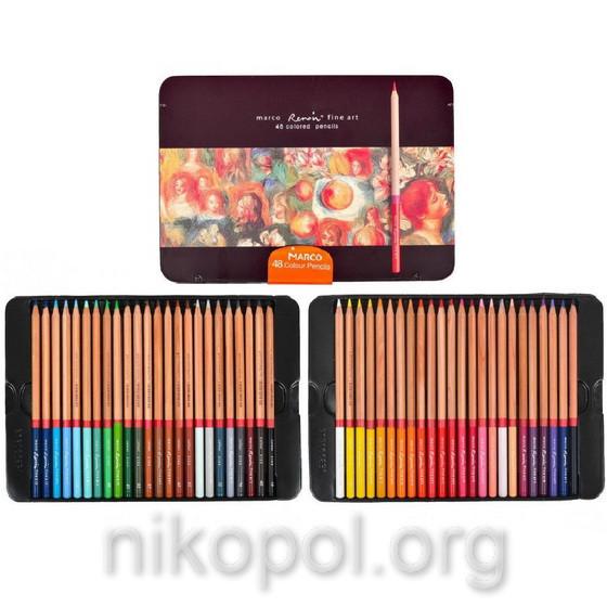 Набор цветных карандашей MARCO Renoir Fine Art 48-ТN, 48 цветов (Марко)