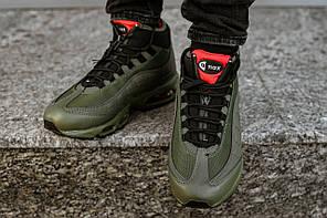 Мужские зимние кроссовки Nike цвета хаки топ реплика, фото 2
