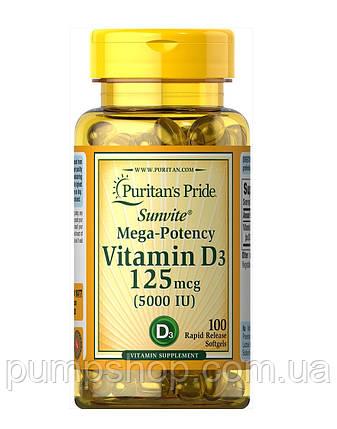 Витамин Д-3 Puritan's Pride Vitamin D3 5000 IU 100 капс., фото 2