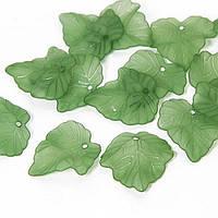 Подвески Акрил Лист Прозрачные, Морозный Стиль, Цвет: Зеленый, Размер: 24х22.5х3мм, Отверстие 1мм, около 48шт/25г, (УТ0030484)