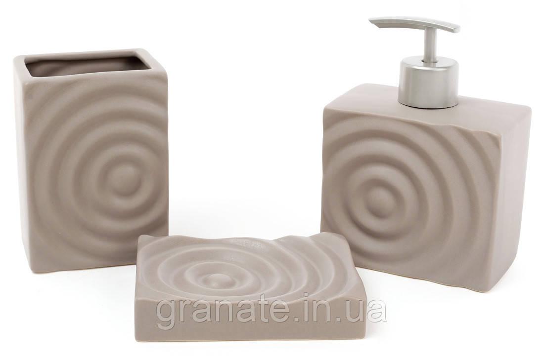 Аксессуары для ванной: дозатор 450мл, стакан 400мл для зубных щеток, мыльница, цвет - серый
