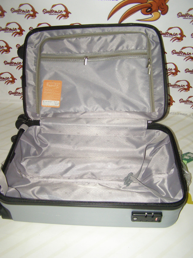 99279e58cbb1 Пластиковый чемодан на 4-х двойных колесах, серебристый, маленький - Очень  красивые и стильные чемоданы из пластика фирмы Fengguan .