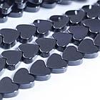 Бусины Натуральный Гематит, Немагнитный, На нитях, Сердце, Цвет: Черный, Размер: Ширина 8мм, Толщина 2мм, Отверстие 0.8мм, около 74шт/нить,