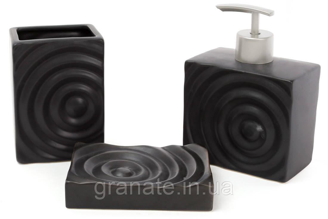 Аксессуары для ванной: дозатор 450мл, стакан 400мл для зубных щеток, мыльница, цвет - черный