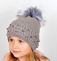 Детская шапка с искуственным помпоном