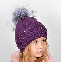 Фиолетовая модная детская шапочка
