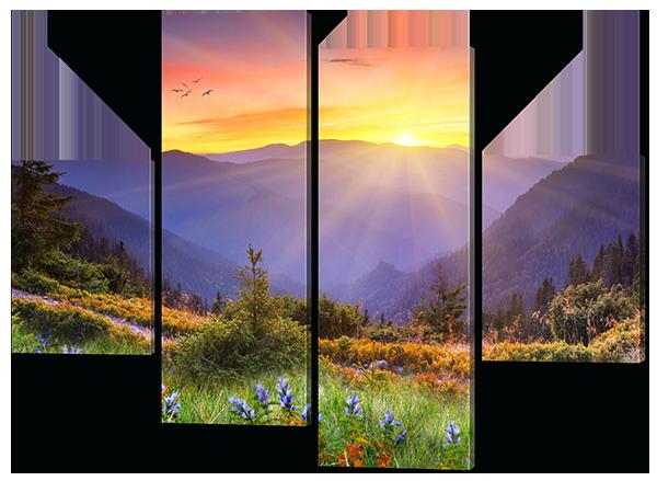 Модульная картина Interno Холст  Утро в горах 166x123см (R320XL)