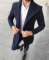 Мужское пальто пиджак шерстяной топовое качество черно синий