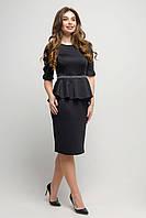 Нарядное платье Карузо с баской 44-50 размера черное, фото 1