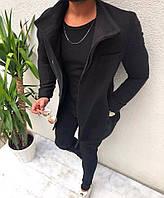 Мужское пальто пиджак шерстяной топовое черное размер S