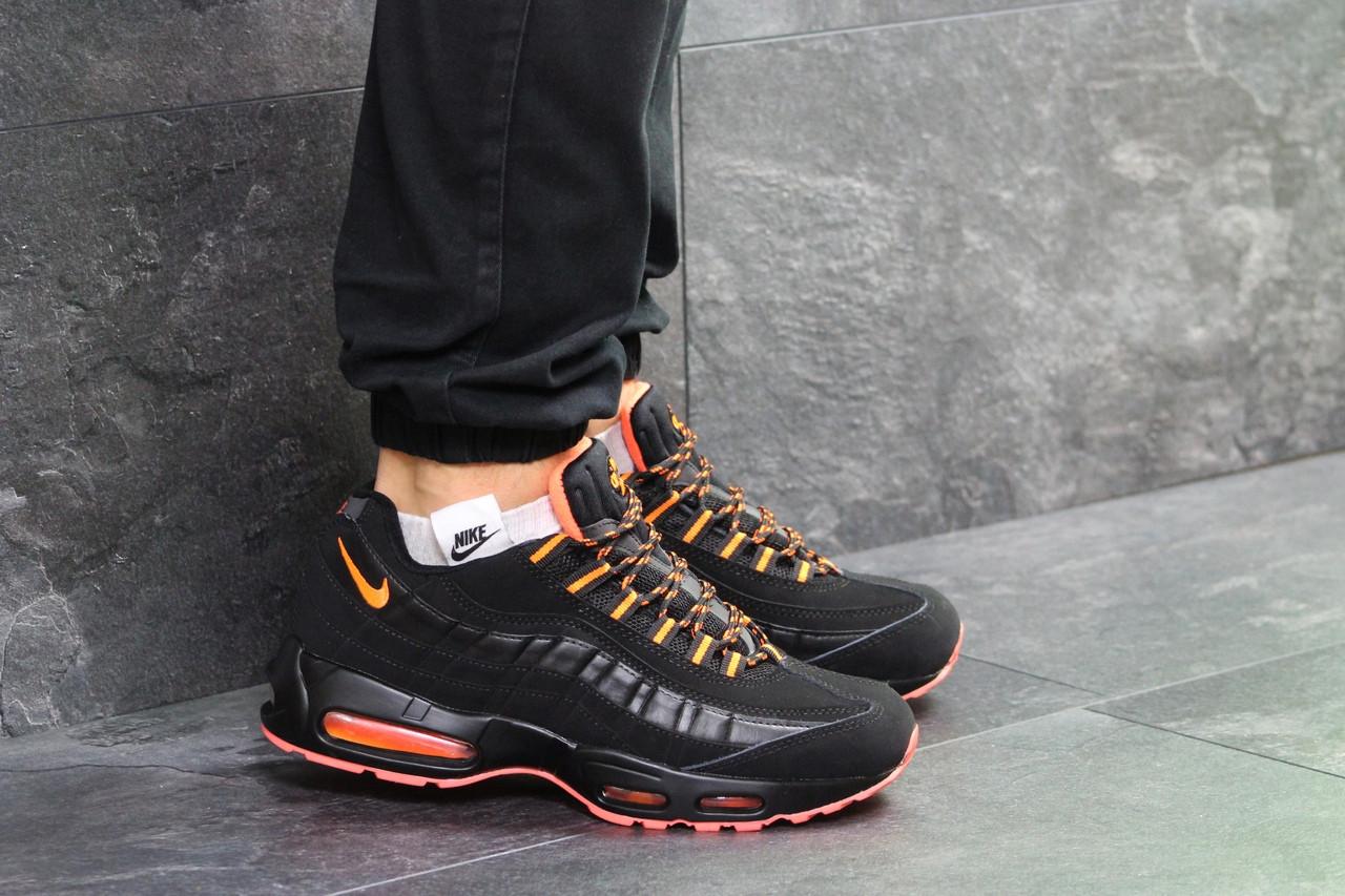 0a38ee701751 Мужские зимние кроссовки Nike Air Max 95, артикул  6704 черные с оранжевым