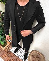 Мужское пальто пиджак шерстяной топовое черного цвета