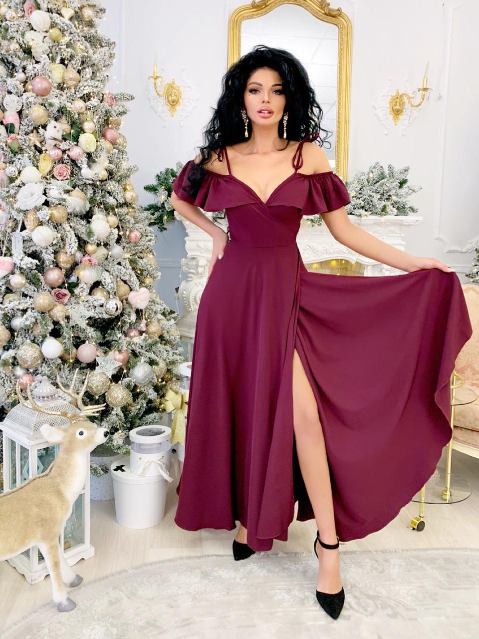 Легкое нарядное платье в пол фасона «На запах»