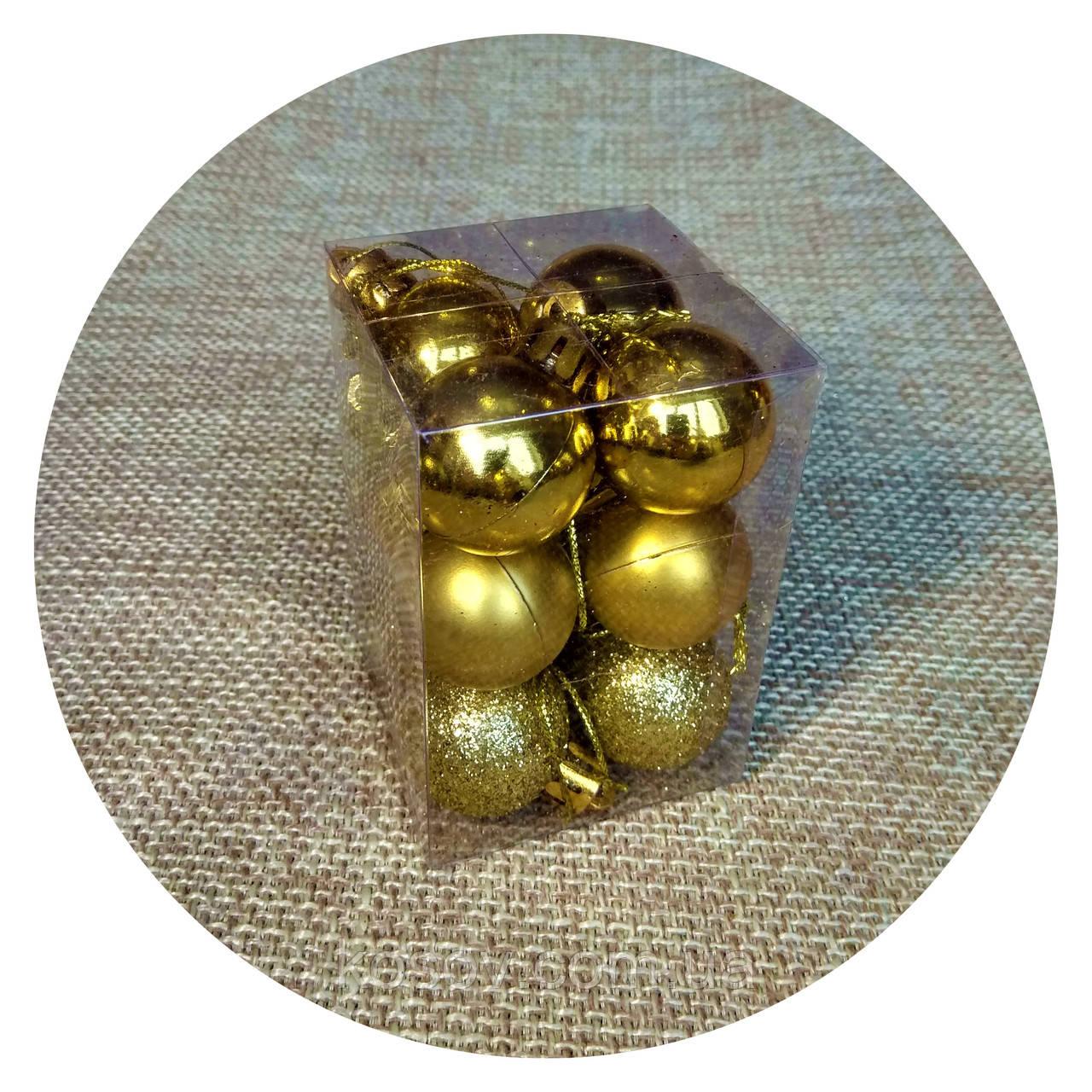 """Набор елочных шаров """"Мини"""" (30мм, золотой) 12шт"""