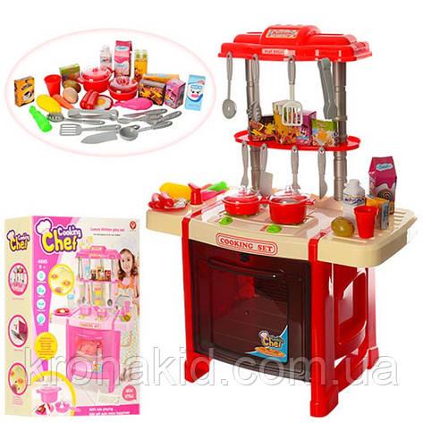 Детская кухня со светом и звуком 922-14-15 ( посудка, плита, продукты), 2 вида, размер 38-53-23,5 см, фото 2