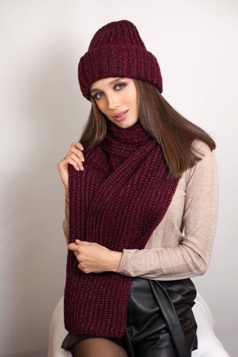 Зимний женский комплект «Дизалия» (шапка и шарф) Бургунди