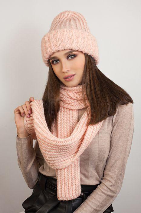 Зимний женский комплект «Дизалия» (шапка и шарф) Пудра