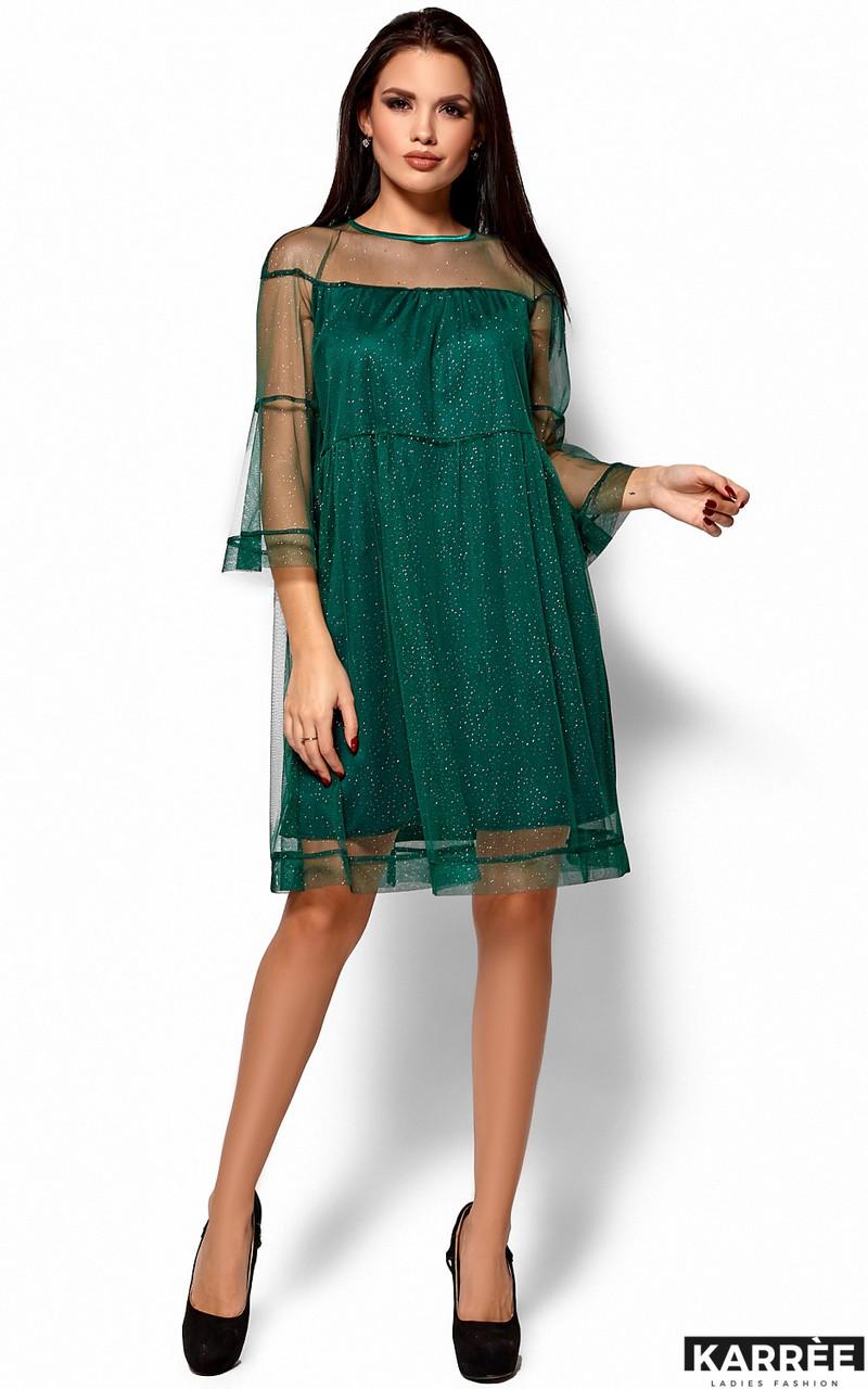 Нарядное женское платье из сетки изумрудное