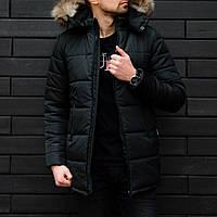 Мужская зимняя куртка Хотсейв с мехом черного цвета
