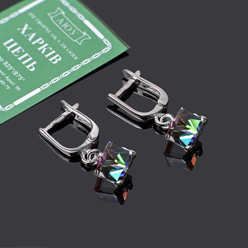 Серьги Кубики с кристаллами Swarovski
