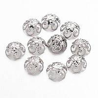 Шапочки для Бусин Железные, Цветок, Цвет: Серебро, Размер: 10х4мм, Отверстие 1мм, (УТ100011004)