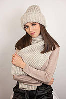 Зимний женский комплект «Дизалия» (шапка и шарф) Кофейный