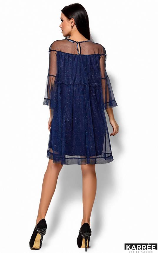 Нарядное синее платье миди из сетки, фото 2