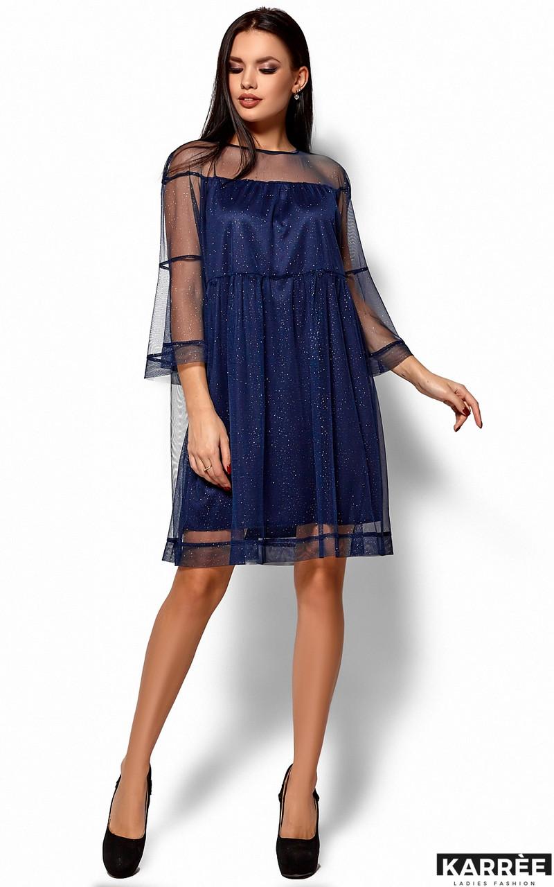 Нарядное синее платье миди из сетки