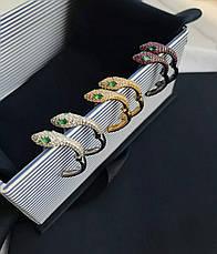 Черные серьги кольца змея с розовыми камнями ювелирная бижутерия, фото 2