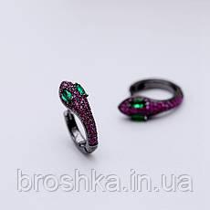 Черные серьги кольца змея с розовыми камнями ювелирная бижутерия, фото 3