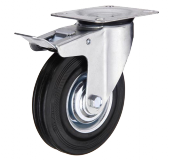 Поворотне колесо з гальмом діаметром 75 мм із стандартної чорної гуми